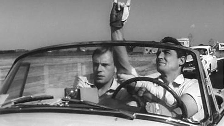 Jean-Louis Trintignant e Vittorio Gassman in una scena tratta da Il sorpasso