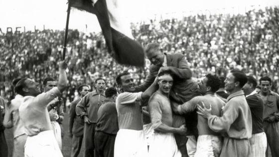 Festeggiamenti della nazionale di calcio italiana al mondiale 1934