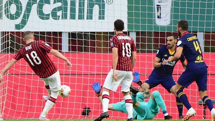 Rebic in gol contro la Roma